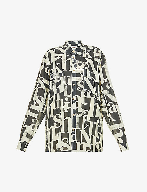 NANUSHKA: Graphic-pattern relaxed-fit cotton-poplin shirt
