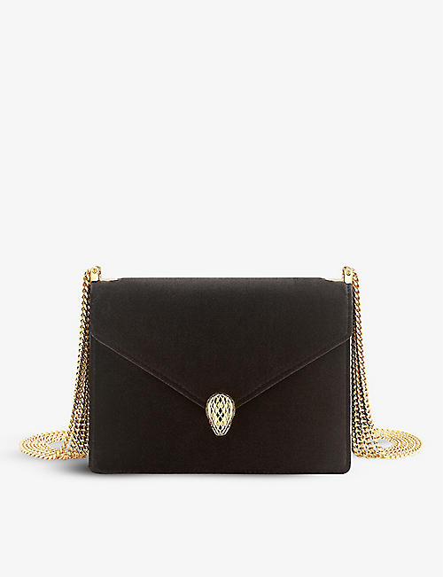 BVLGARI: Serpenti Forever velvet and leather shoulder bag