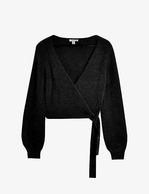 TOPSHOP: Wrap-over knitted jumper