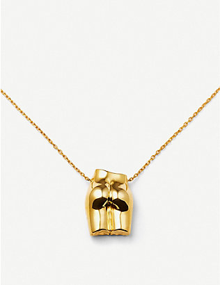 ANISSA KERMICHE: Le Derrière Doré 14ct yellow gold-plated sterling silver necklace