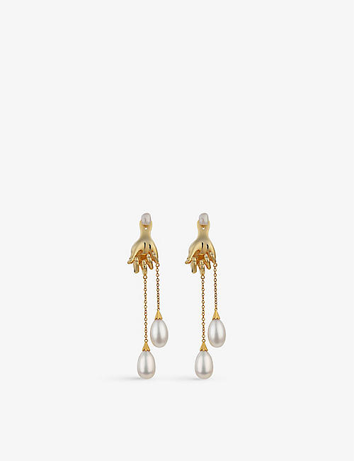ANISSA KERMICHE: Grab Them by the Balls 14ct yellow gold-plated sterling silver and pearl earring