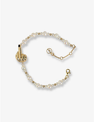 ANISSA KERMICHE: French for Goodnight 18ct yellow gold-plated and pearl bracelet