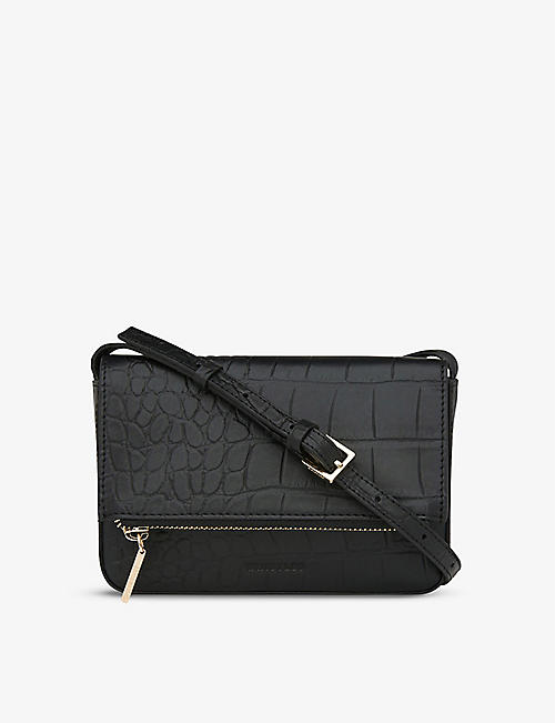 WHISTLES: Luca crocodile-embossed leather cross-body bag