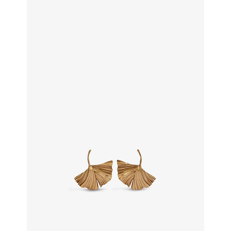 Saint Laurent Earrings GINKGO LEAF GOLD-TONED BRASS EARRINGS