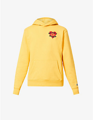 BILLIONAIRE BOYS CLUB: Heart & Mind embroidered-patch cotton-jersey hoody