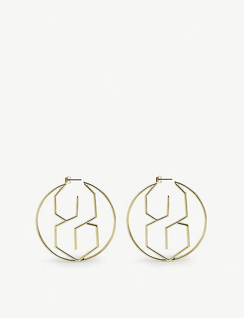 THE S THING: MMNYC by Melanie McPherson S 14ct yellow gold-plated and sterling-silver hoop earrings