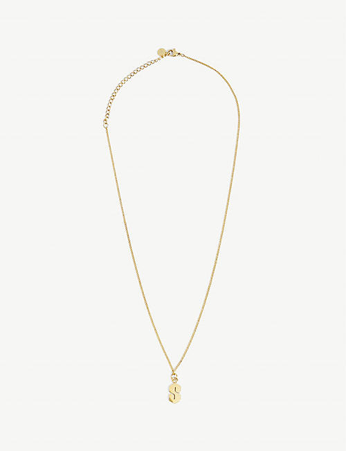 THE S THING: MMNYC by Melanie McPherson S 14ct gold-plated brass necklace