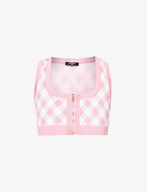 BALMAIN: Gingham-print stretch-woven crop top
