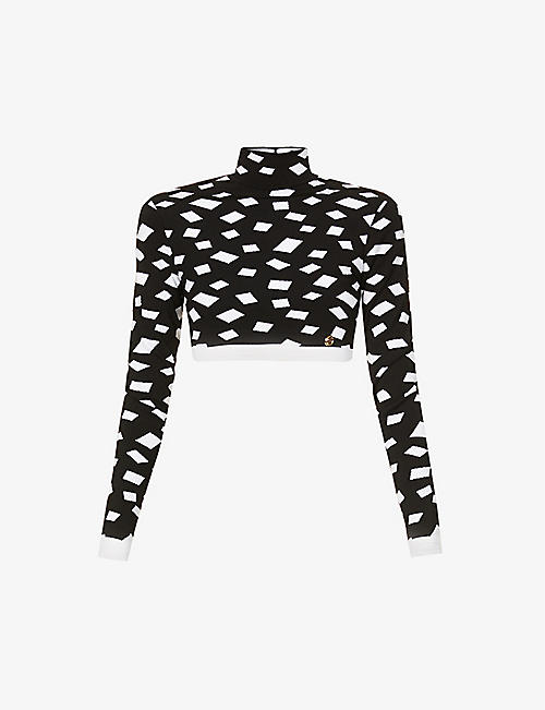 BALMAIN: Geometric-print high-neck stretch-woven top