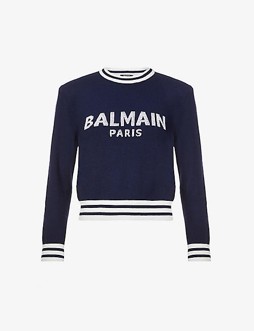 BALMAIN: Logo-appliqué wool and cashmere-blend jumper