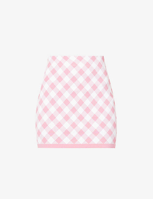 BALMAIN: Gingham-print high-waist stretch-woven mini skirt