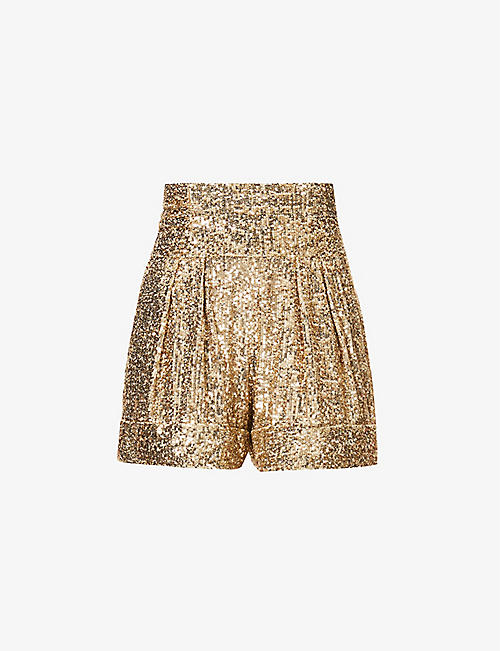 BALMAIN: Sequinned high-rise woven shorts
