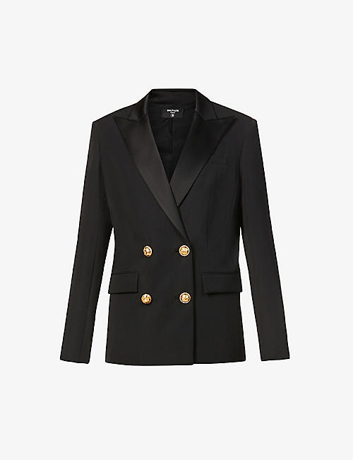 BALMAIN: Oversized double-breasted wool jacket