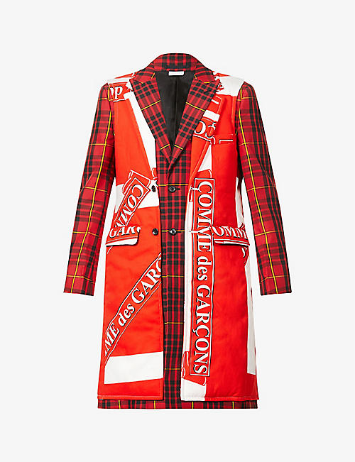 COMME DES GARCONS HOMME PLUS: Patter branded check-print twill coat