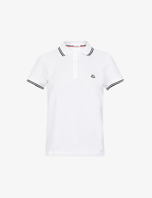 MONCLER: Maglia logo-embroidered slim-fit cotton-piqué polo shirt