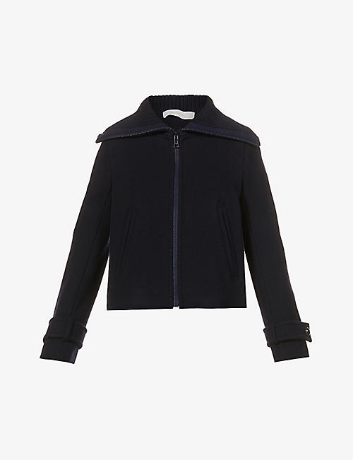 SEE BY CHLOE: Funnel-neck wool-blend jacket