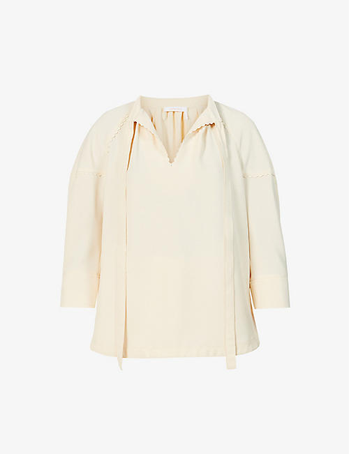 SEE BY CHLOE: Scalloped high-neck crepe top