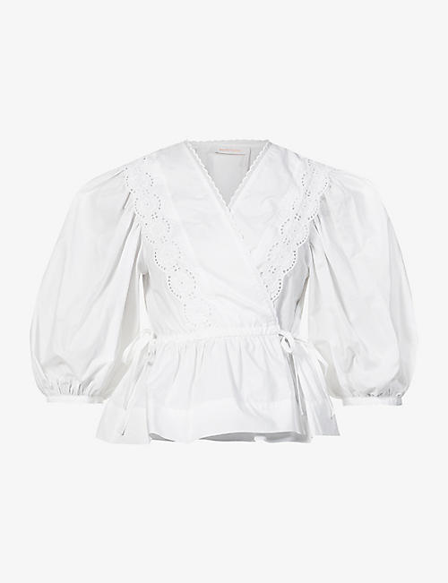SEE BY CHLOE: Wrap-over cotton-poplin blouse