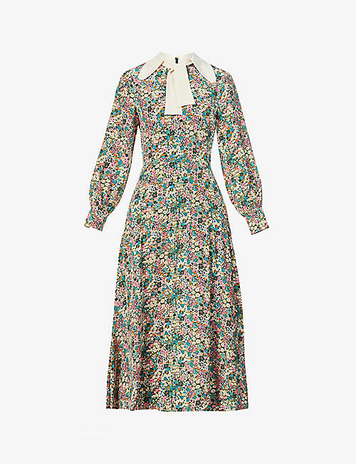 SEE BY CHLOE: Floral-print silk-crepe midi dress