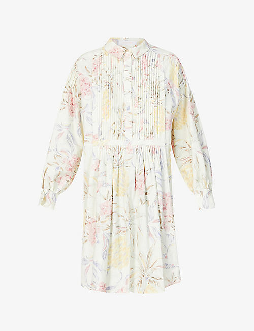 SEE BY CHLOE: Spring Fruits floral-print ramie-cotton blend mini dress