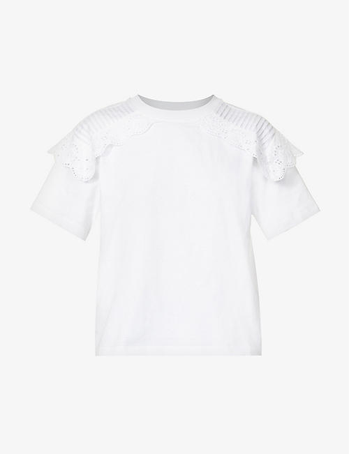 SEE BY CHLOE: Broderie-overlay cotton-jersey T-shirt
