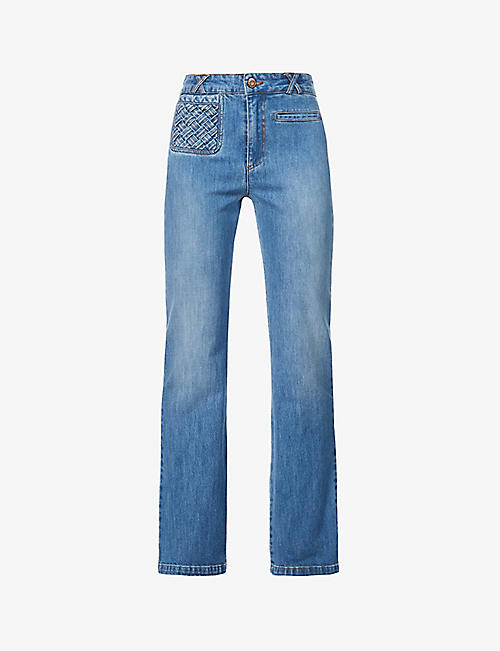 SEE BY CHLOE: Braided-detail flared high-rise jeans