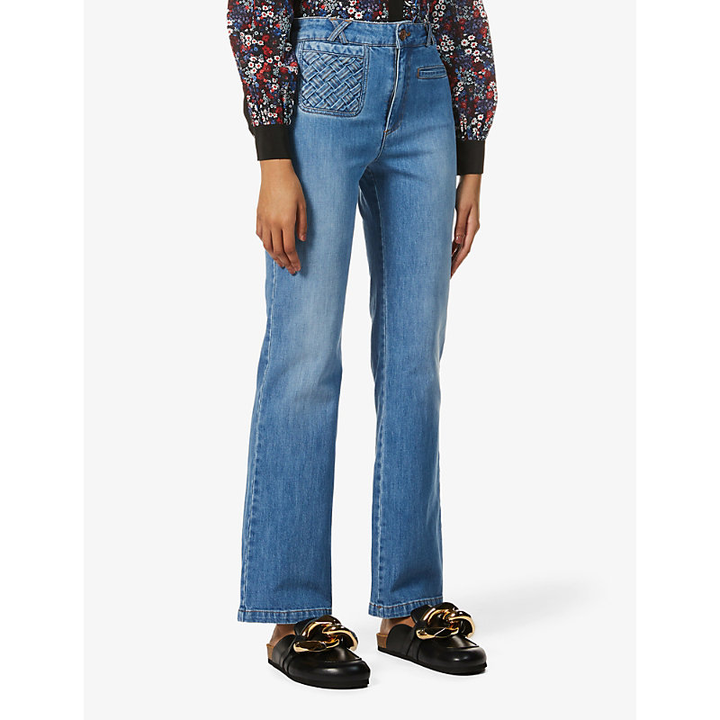 See By Chloé Flared jeans BRAIDED-DETAIL FLARED HIGH-RISE JEANS