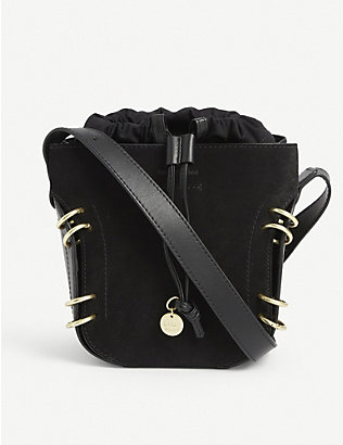 SEE BY CHLOE: Alvy suede and leather bucket bag