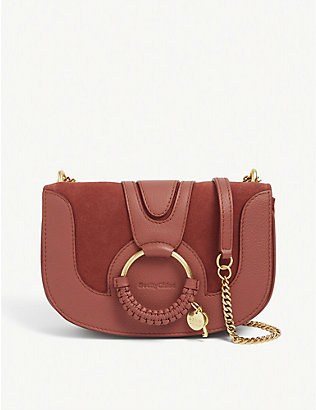 SEE BY CHLOE: Hannah medium leather and suede saddle bag