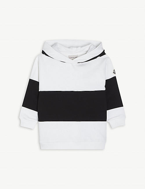 MONCLER: Block panel cotton hoody 4-10 years