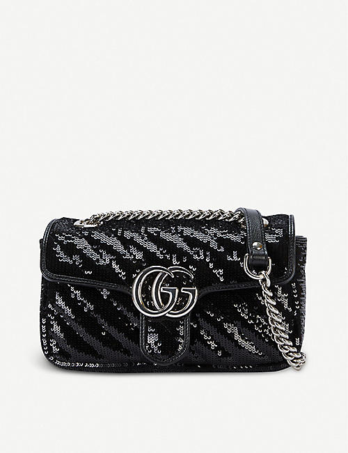 GUCCI: Metallic Marmont sequinned shoulder bag