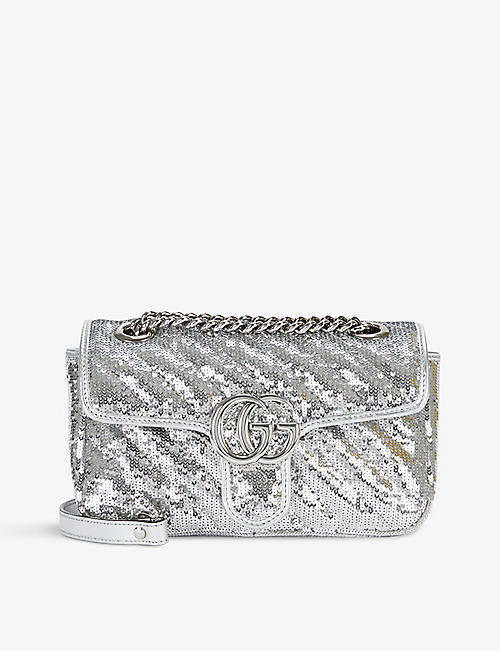 GUCCI: Marmont sequin-embellished leather shoulder bag