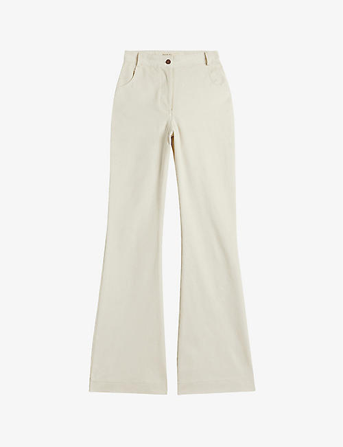 TED BAKER: Creame flared high-rise stretch-cotton corduroy jeans