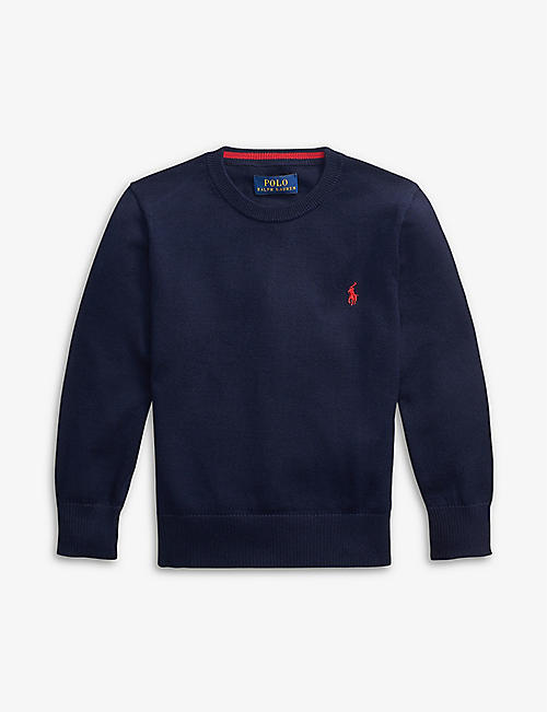 RALPH LAUREN: Logo-embossed cotton-blend jumper 2-14 years