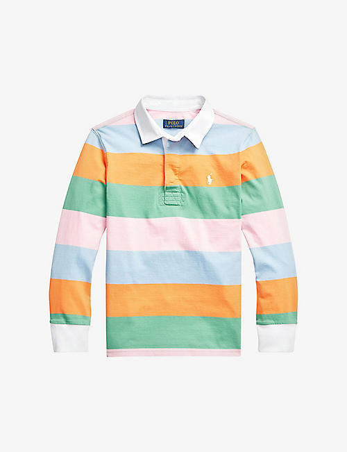 RALPH LAUREN: Stripe-print branded cotton polo shirt 2-14 years