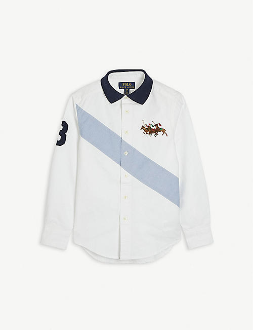 RALPH LAUREN: Logo-embroidered cotton shirt 2-14 years