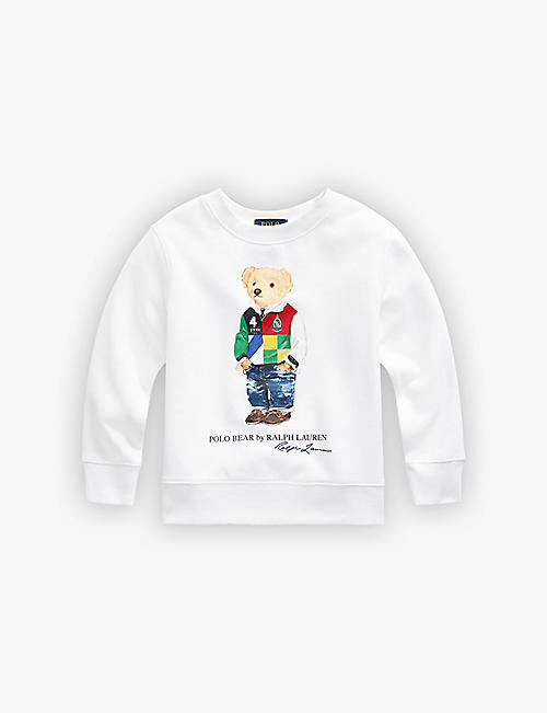 RALPH LAUREN: Bear print fleece jumper 2-14 years