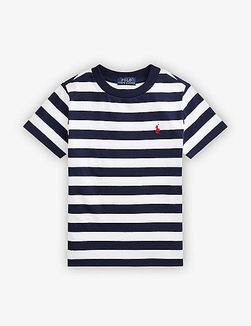 RALPH LAUREN: Logo-embroidered stripe-print cotton T-shirt 3-14 years