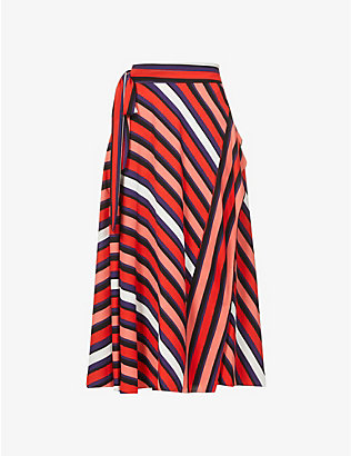 DIANE VON FURSTENBERG: Tilda striped high-waist crepe midi skirt