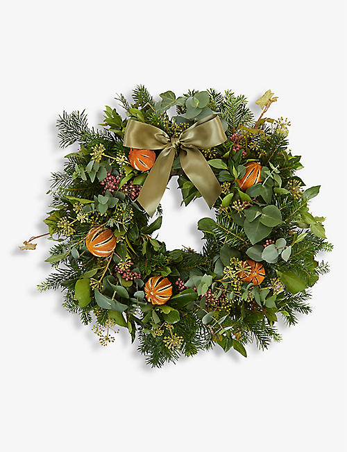 THE REAL FLOWER COMPANY: Citrus and Spice and Moss door wreath