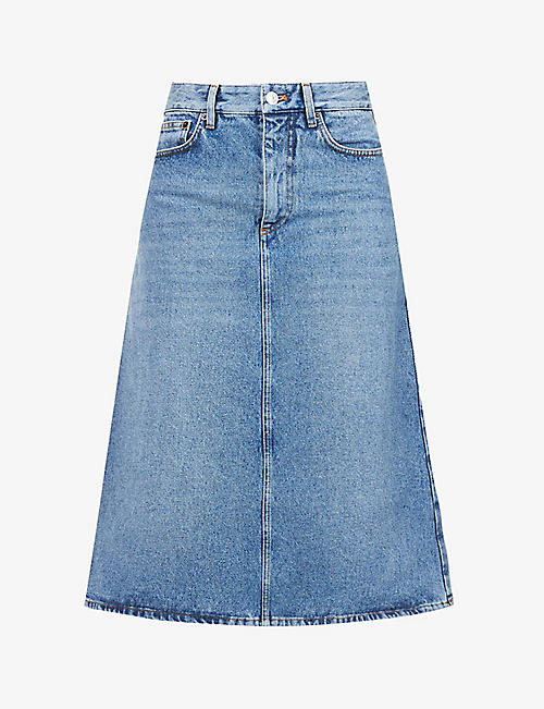 BALENCIAGA: A-line high-rise denim midi skirt