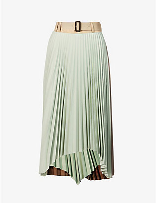 ANDERSSON BELL: Joanna asymmetrical pleated woven midi skirt