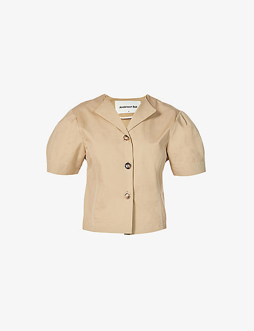 ANDERSSON BELL: Carina puff-shoulder cotton-poplin shirt