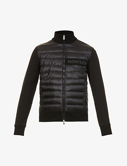 MONCLER: Logo-print shell-down and cotton-blend jacket