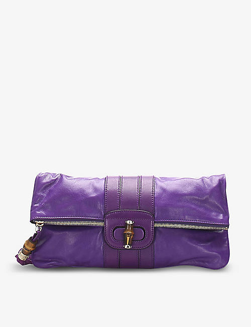 RESELLFRIDGES: Pre-loved Gucci Bamboo leather clutch bag