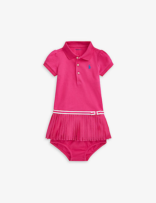 RALPH LAUREN: Logo-embroidered cotton dress set 3-24 months
