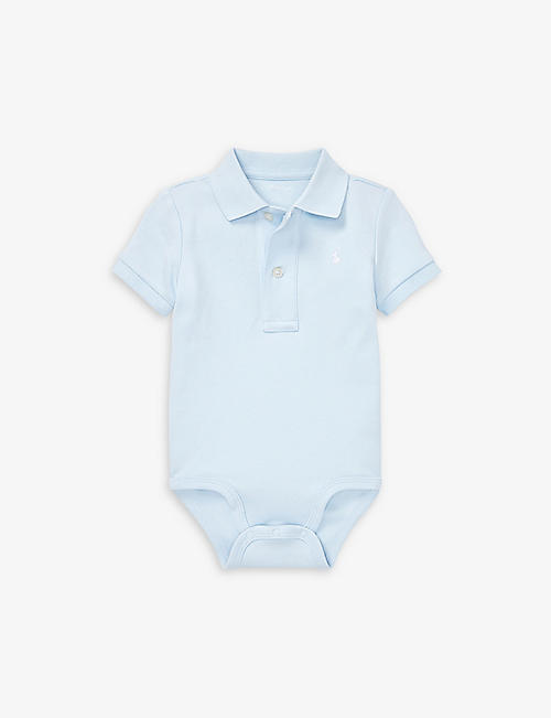 RALPH LAUREN: Logo-embroidered cotton body suit 3-12 months
