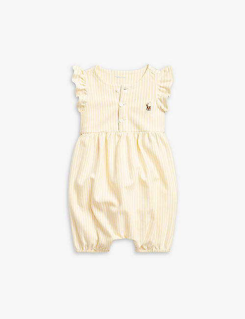 RALPH LAUREN: Logo-embroidered striped cotton romper 3-24 months