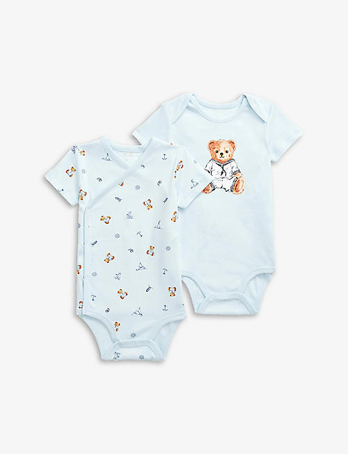RALPH LAUREN: Logo-print cotton baby grow set of two 3-9 months