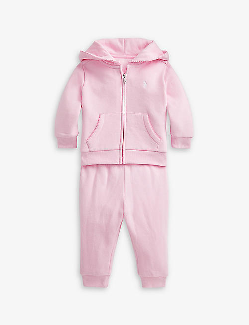 RALPH LAUREN: Logo-embroidered cotton hoody and jogging bottoms 3-24 months